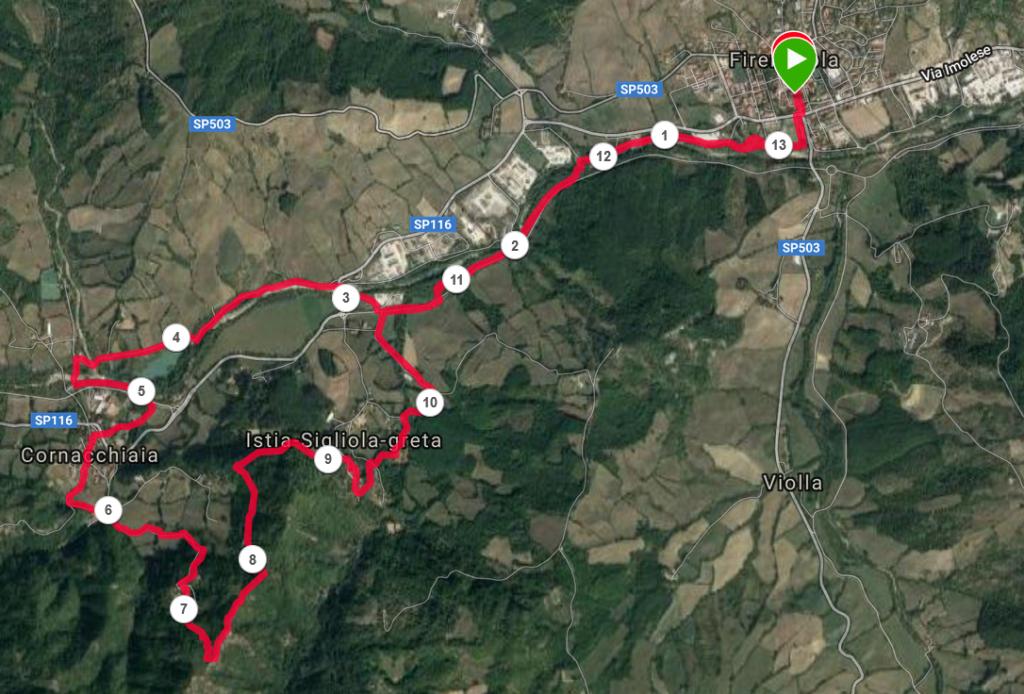 La Mappa del trail, a Firenzuola, nell'Alto Mugello