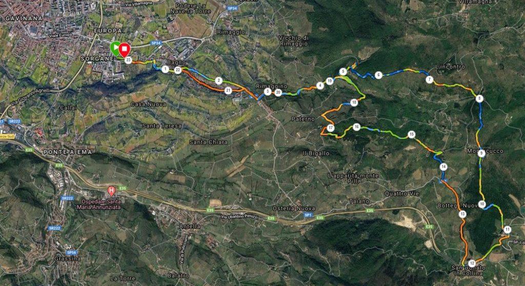 Il tracciato per San Donato via Bagno a Ripoli, Poggio dell'Incontro, Monte Cucco
