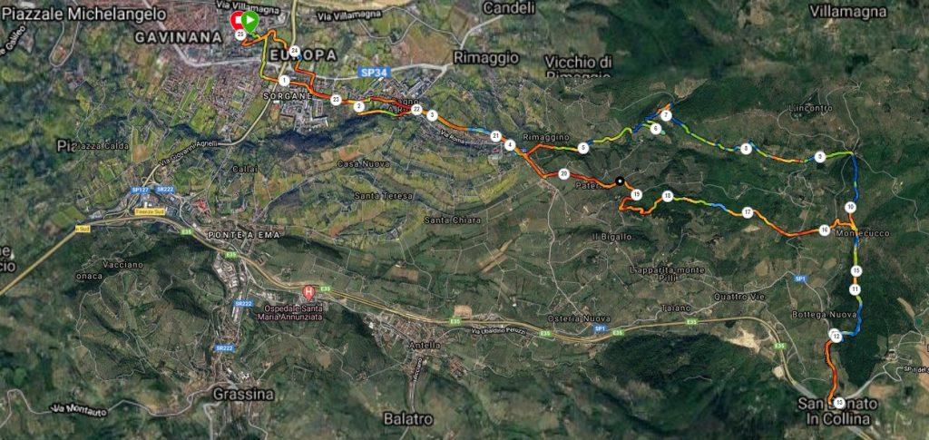 Il tracciato per San Donato via Terzano
