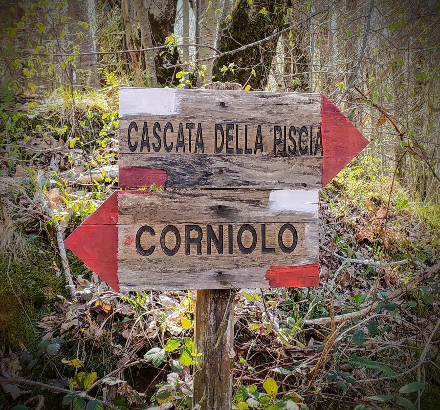 Segnaletica: a sinistra si va al Corniolo, a destra verso la Cascata della Piscia